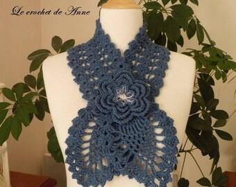 Blue indigo, adorned with a flower scarf brooch!