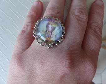 Water fairy cabochon Adjustable ring