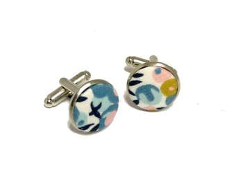 fabric cufflinks liberty Wiltshire porcelain hand-made in France