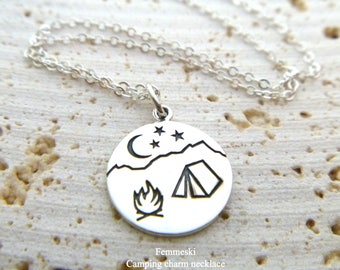Camping Necklace - Mountain Necklace - Camping Pendant - Camping Jewelry - 925 Sterling Silver - Wilderness Jewelry - Scout Rangers