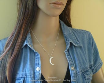 Moon Necklace - 925 Sterling Silver Crescent Moon Pendant, Celestial Charms, Crescent Moon Necklace, Moon Necklace Silver, Moon pendant
