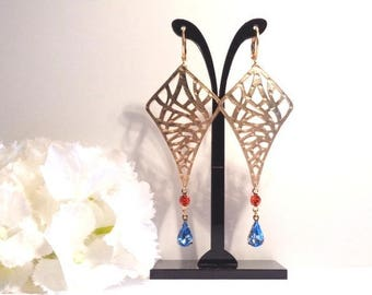 Earrings ethnic CHIC collection, supports and dark orange and Navy Swarovski set gold vermeil heart print