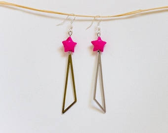 Dangling earrings star origami and triangle charm - choice of colors