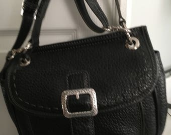 NEW Black Brighton Pebble Leather Handbag With Matching Wallet