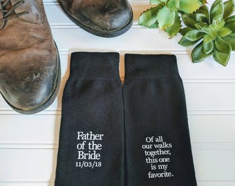 Father of the Bride socks, father of the bride gift, father of the bride shirt, Wedding socks, wedding gift, Dad gift, Step- Dad gift.
