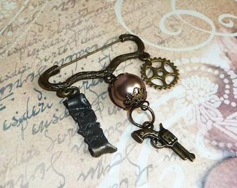 Steampunk pin, pistol revolver gun gun, parchment card, Pearl swarovski crystal, pirate, Gothic, Victorian, cosplay, festival