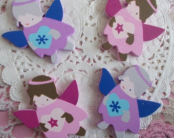 Pink and blue painted wooden Angels perfect for your Christmas decoration 4,00 cm in height (with 4 Angels).
