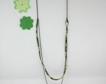 Liberty collection: Green liberty mid-long necklace, Star - offered earrings charm