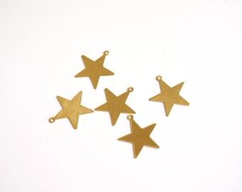 Raw brass 16 mm x 10 Star charms