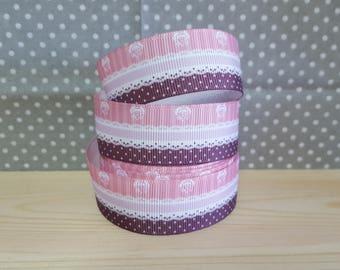 1 meter of Ribbon Gros grain stripes/lace/polka dots