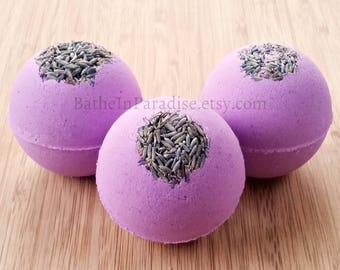 French Lavender Bath Bomb | Essential Oil Fizzy | Large, 2.6 inch | Dried Lavender on Top