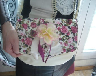 Customized with floral cotton, and big flower faux bag!