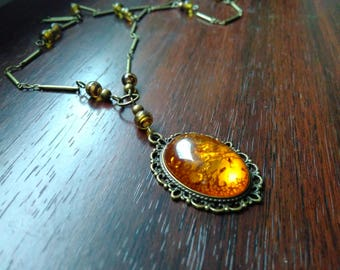 Necklace amber (imitation) and Pearl Flake turtle