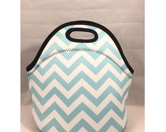 C.C. Neoprene Lunch Bag | Insulated Lunch Tote | Lunch Box | Office lunch bag | Lunch Bag Insulated | Teacher Gift Nurse Gift | Teal Chevron