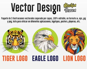 Tiger, Eagle and Lion vector