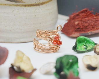 Copper wire ring with red beads, statement ring, wire wrapped ring, boho ring, gemstone ring