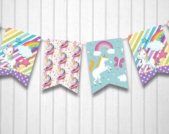 Unicorn Rainbow 12pc Banner Bunting Kids Birthday Invitation Party Decoration
