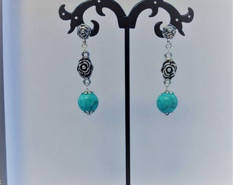 Flowers and turquoise howlite beads earrings