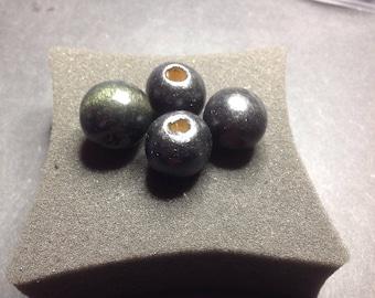 Large round Black Olive wood beads