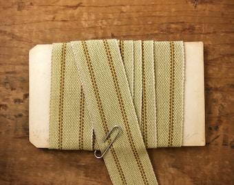One Inch Rustic Striped Linen Cotton Ribbon (1yrd.) T25