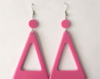 Retro 1980's Pink Large Triangle Dangle Drop Statement Earrings