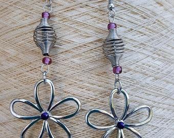Daisy Earrings Chandelier Earrings Silver Dangle Earrings Floral Earrings Flower Child Earrings Whimsical Earrings
