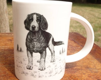 Porcelain cup with bead - dog