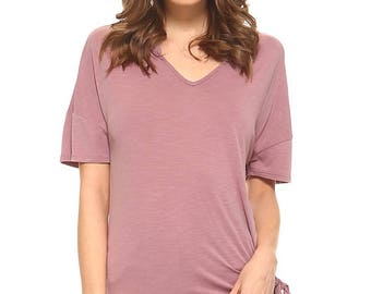 Vaneul Studio's V-neck Solid Short Sleeve Top With Side Strap Tie