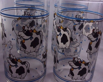Cow Drinking Glasses Tumblers Vintage