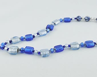NECKLACE MURANO blue and white beads