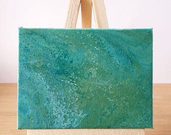 "Abstract Art Acrylic Painting Original | ""Sea Foam"" 7cm x 9cm Canvas With Easel"