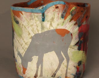 Handmade Ceramic Pot with painted slip motif of deer