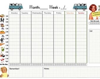 weekly planner by digitaliartdesign, weekly planner vintage style, weekly planner download, organizer printable,organizer printable,