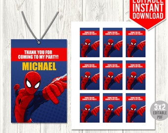 Spiderman Thank You Tags, Spiderman Favor Tags, Spiderman Tags, Spiderman Printables, Spiderman Digital File, Editable PDF, Instant Download