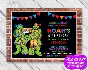 Ninja Turtle Birthday Invitation, Ninja Turtle Invitation, TMNT, Pizza Party, Ninja Invitation, Ninja Birthday, Teenage Mutant Ninja Turtles