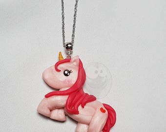 Unicorn necklace pink Kawaii polymer clay