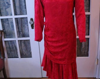 1980's Does 1920's Red Silk Evening Dress