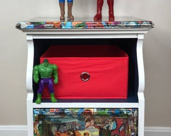 Marvel Superhero Nightstand // Upcycled Furniture // Bedroom // Living Room  //