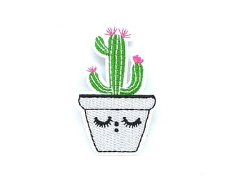 Patch fusible cactus face eyes eyelashes / coat applied fusible /Sweetchicmercerie