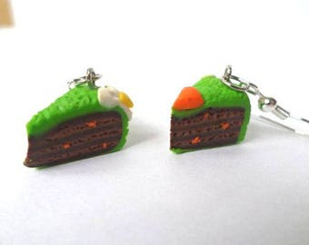 Carrot and Easter flowers cake earrings polymer clay