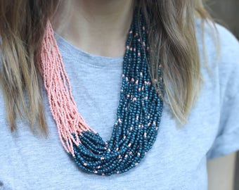 Teal and Corral Statement Necklace