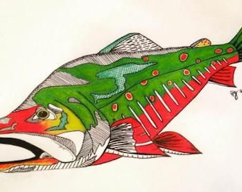 Brook trout--colorful geometric print