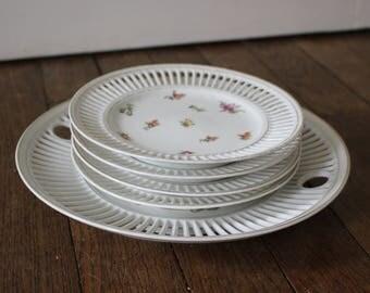Rare vintage porcelaine set of dessert plates Union K