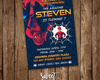 Spiderman Invitation, Digital Printable Invite, Spiderman Birthday Party, Superhero Customizable Card, Photo Invite, Kids Birthday, SI-0011