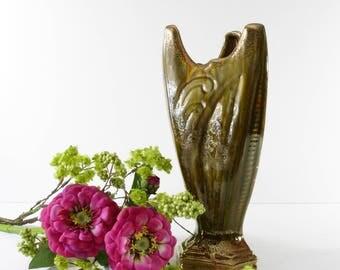 Vintage Art Deco Vase, Green Pottery Vase, Avocado Green Home Decor Pottery