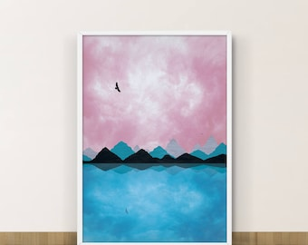 Mountain Abstract Print, Coastal Decor, Modern Abstract Art, Ocean Art, Sea Art, Bathroom Decor, Abstract Landscape, Wall Art Giclee, Eagle