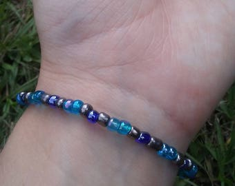 Blue & Pewter Glass Bead Bracelet