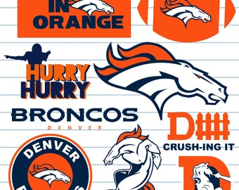 Denver Broncos SVG files, Silhouette files, CriCut, Vector files, Sports