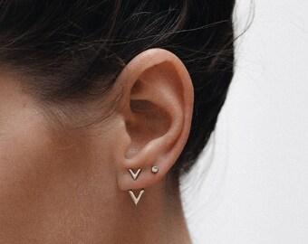 Gold Ear Jacket  - Simple ear jacket - Delicate earrings - Delicate ear jacket - Minimal ear jacket - Minimal jewelry - E077