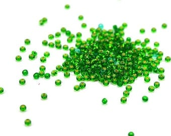 approx. 1200 green colorful interior seed beads, translucent green glass transparent mini beads small beads 2mm seed beads glass